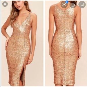 Dress the Population Gold Camilla Sequin Dress
